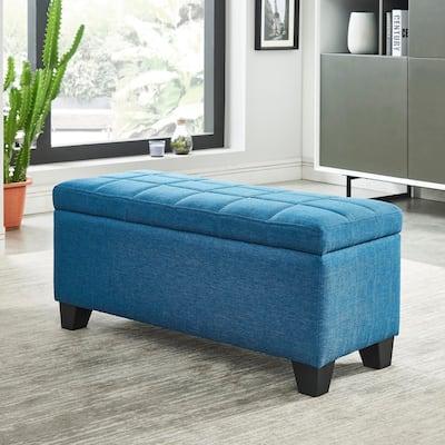 Lila-Fabric Storage Ottoman