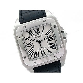 Pre-owned Large Cartier Stainless Steel Santos 100 Watch with Silver Roman Numeral Dial - N/A - N/A