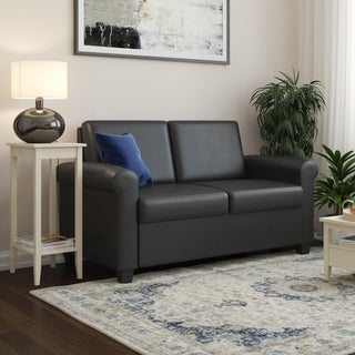 DHP Logan Grey Linen Sleeper Sofa