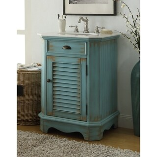 "24"" Benton Collection Abbeville Distressed L. Blue Rustic Vanity W/BS"