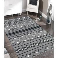 Handmade Flat-Weave Itza Dove Gray Rug - 9' x 12'