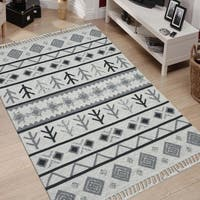 Itza Ivory/Grey/Black Wool Handmade Flat-weave Area Rug - 8' x10'