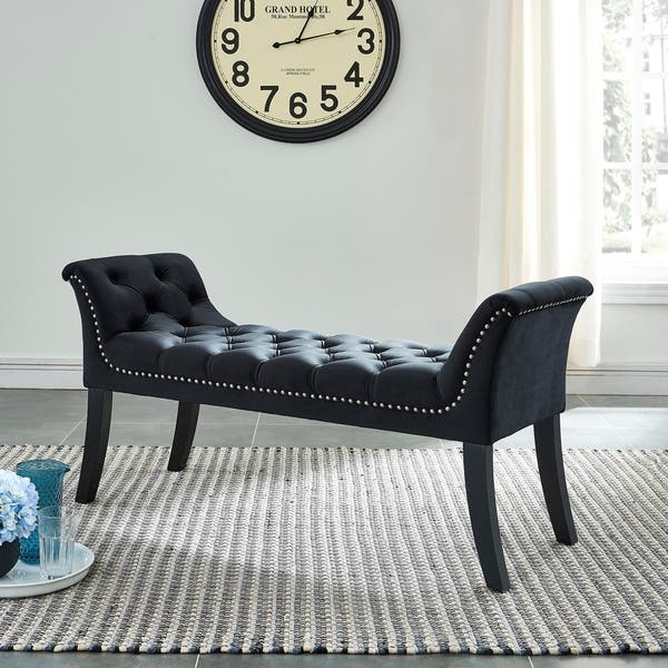 Remarkable Shop Velci Velvet Tufted Bench With Stud Detail On Sale Ocoug Best Dining Table And Chair Ideas Images Ocougorg