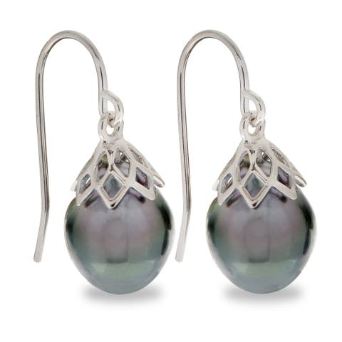 PearLustre by Imperial Sterling Silver Tahitian Pearl Drop Earrings