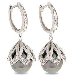 PearLustre by Imperial Sterling Silver 10-11mm Tahitian Pearl and White Topaz Drop Earrings