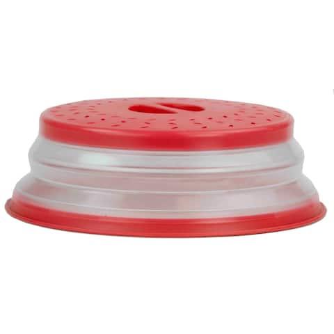 Home Basics Red Plastic Microwave Plate Colander/Strainer