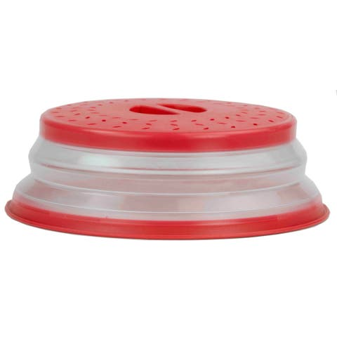Home Basics Red Plastic Microwave Plate Colander/Strainer