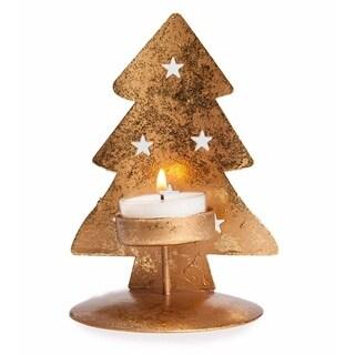 Golden Metal Christmas Tree Tea Light Holder