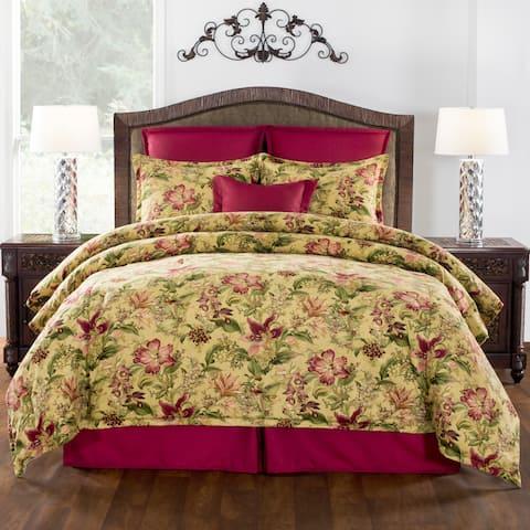 Crestmont jacquard gold and burgundy comforter set