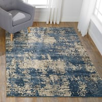 Abstract Transitional Blue/ Beige Vintage Rug - 7'7 x 10'6