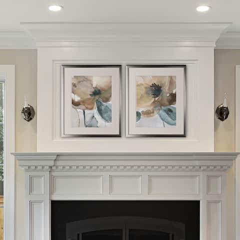Watercolor Poppy -2 Piece Set - Silver Frame