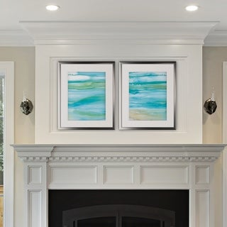 Coastal Abstract -2 Piece Set - Silver Frame