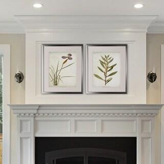 Vintage Botanical Sketch V -2 Piece Set - Silver Frame