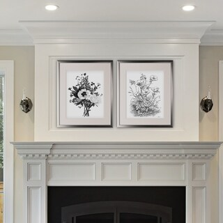 Botanical Black and White II -2 Piece Set - Silver Frame