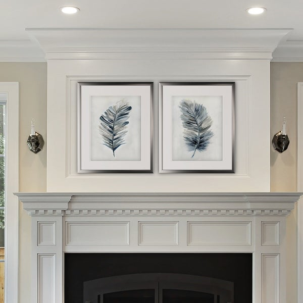 Soft Feathers -2 Piece Set - Silver Frame
