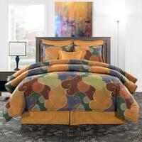 Paintbox orange and green mandala comforter set