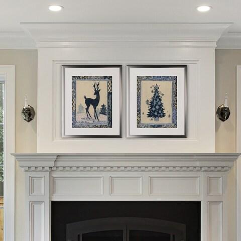 Christmas Silhouettes -2 Piece Set - Silver Frame
