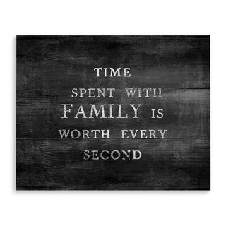 TIME SPENT WITH FAMILY BLACK Premium Canvas Gallery Wrap