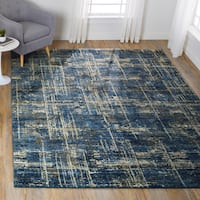 Abstract Transitional Blue/ Grey Vintage Rug - 9'2 x 12'7