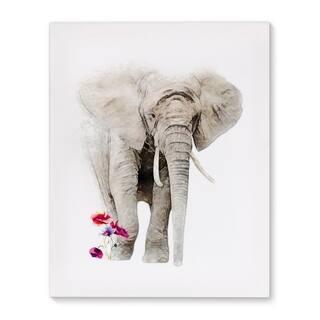 ELEPHANT FLOWERS Premium Canvas Gallery Wrap