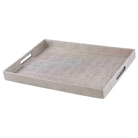 Home Basics Silver Metallic Weave Serving Tray