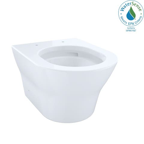Toto MH Wall-Hung D-Shape Dual-Flush 1.28 and 0.9 GPF Toilet Bowl with CeFiONtect, Cotton White (CT437FG#01)