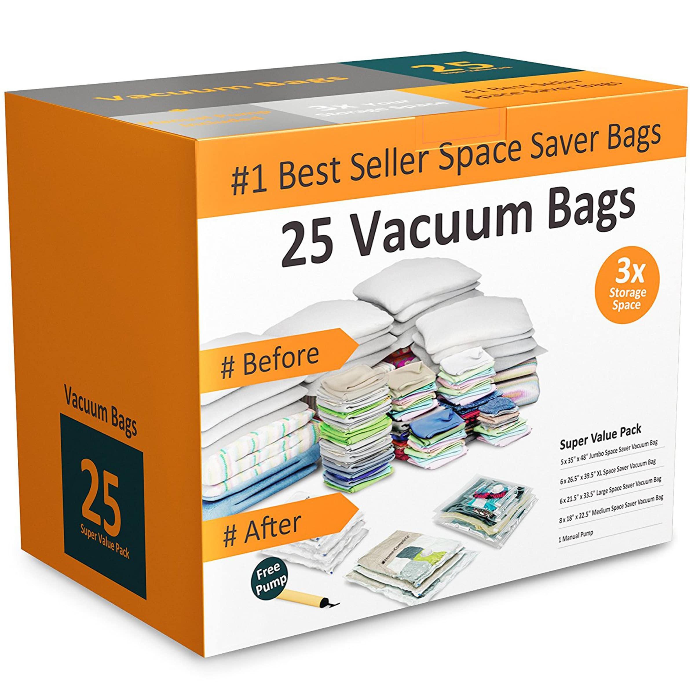 8 PACK 6 XL and 2 Super Jumbo Vacuum Seal Storage Bag Space Saver Compress Bag