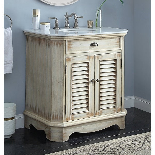 32 Benton Collection Fairfield Rustic Distressed Beige Bath Vanity