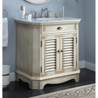 "Benton Collection Fairfield Rustic Distressed Beige Bathroom Sink Vanity 32"""