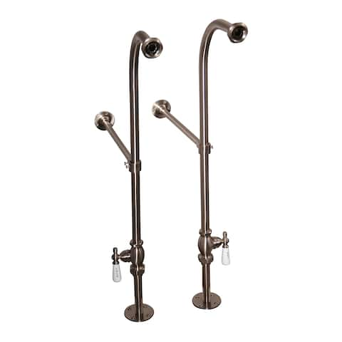 Cahaba Classics Freestanding Supplies with Porcelain Lever Handles in Satin Nickel