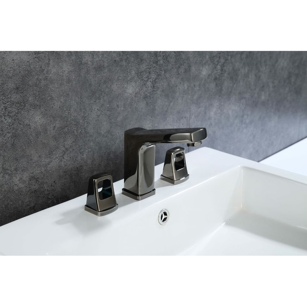 Shop 8 in. Widespread 2-Handle Bathroom Faucet with Push Down Pop-Up ...