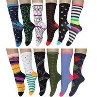 Frenchic Women's Multi Color Patterned Fun Crew Socks (Pack of 12 Pairs)