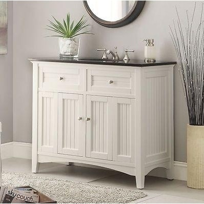 42 Benton Collection Thomasville White Cottage Style Bathroom Vanity
