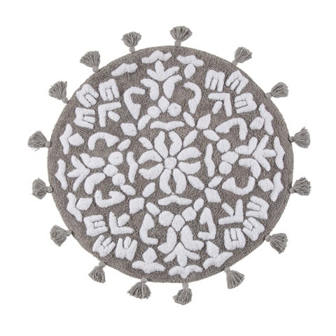 Cambridge Round Tufted Bath mat with tassels