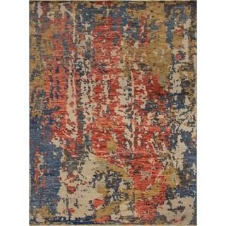 Fine Oushak Matheus Red/Blue Rug (9'2 x 12'3)