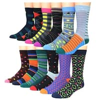 Men's Frenchic Premium Quality Patterned Casual Dress Socks (Pack of 12 Pairs)
