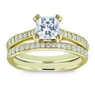 Annello by Kobelli 14k Gold 1 1/3ct TGW Princess Moissanite and Diamond Square Shank Trellis Wedding Rings (FG/VS, GH/I)