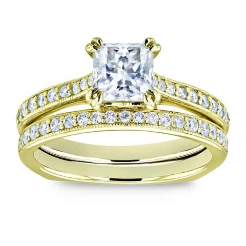 Annello by Kobelli 14k Gold 1 1/3ct TGW Princess Moissanite and Diamond Square Shank Trellis Wedding Rings (GH/VS, GH/I)
