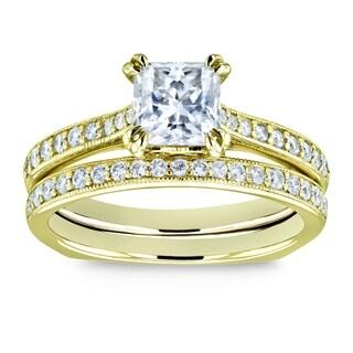 Annello by Kobelli 14k Gold 1 1/3ct TGW Princess Moissanite and Diamond Square Shank Trellis Wedding Rings (HI/VS, GH/I)