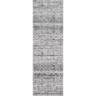 "Distressed Transitional Grey Stone Vintage Damask Rug - 2'7"" x 12'"