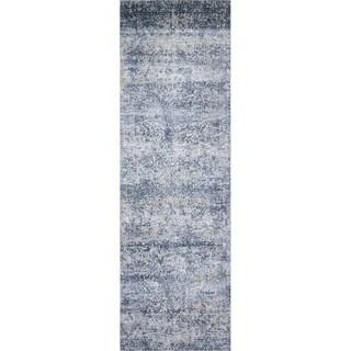 """Distressed Transitional Blue/ Grey Floral Vintage Rug - 2'7"""" x 12'"""
