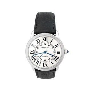 Pre-owned 42mm Cartier Stainless Steel Ronde Solo Watch w/ Silver Dial - N/A - N/A