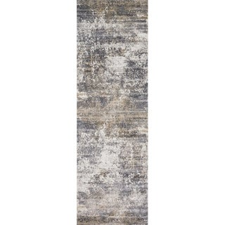 "Distressed Abstract Grey/ Taupe Textured Vintage Rug - 2'7"" x 12'"
