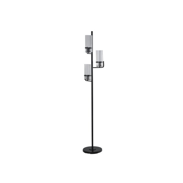 StyleCraft Three Arm Satin Black Floor Lamp - Clear Ribbed Glass Shades