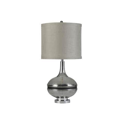 StyleCraft Elyse Smoke Glass and Steel Table Lamp - Taupe Hardback Shade
