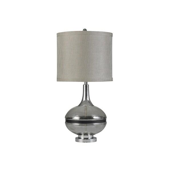 Elyse Smoke Glass and Steel Table Lamp - Taupe Hardback Shade