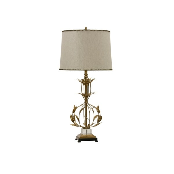 Miriam Gold Finish Steel and Crystal Table Lamp with Leaf Accents - Beige Hardback Shade