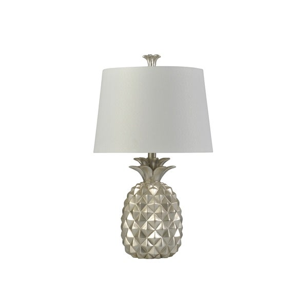 Coastal Silver Table Lamp - White Hardback Shade