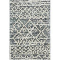 "Contemporary Grey/ Beige Moroccan Shag Rug - 3'3"" x 6'"