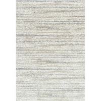 Contemporary Ivory/ Beige Abstract Shag Rug - 7'10 x 10'10